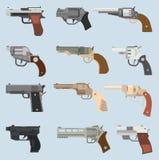 Weapons vector handguns collection. Stock Photos