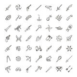 Weapons vector icons set, Arms solid symbol. Weapons vector icons set, cold steel arms Royalty Free Stock Photography