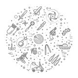 Weapons vector icons set, Arms solid symbol. Weapons vector icons set, cold steel arms Royalty Free Stock Photos