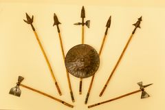 Weapons of a warrior, spears, axes, shield. royalty free stock photos