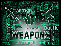 Weapons Words Means Armed Firepower And Munition. Weapons Words Representing Munitions Armory And Armaments Royalty Free Stock Photo