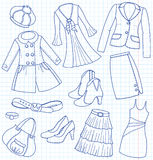 Wear and accessories. Lady's wear and accessories (sketch royalty free illustration