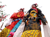 Wear ancient clothing actor in the streets. In February 2012, China the Lantern Festival, the large ancient clothing arts festival in shaanxi province longxian Royalty Free Stock Photography
