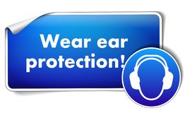 Wear ear protection sticker with mandatory sign isolated on white background royalty free illustration