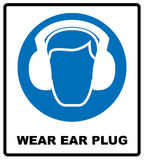 Wear earmuffs or ear plugs Stock Images