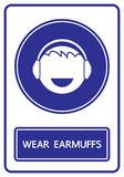 Wear earmuffs sign and symbol  Stock Photo