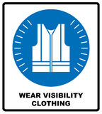 Wear high visibility clothing. Safety visible clothing must be worn, mandatory sign, vector illustration. Royalty Free Stock Photography