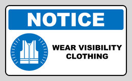 Wear high visibility clothing. Safety visible clothing must be worn, mandatory sign, vector illustration. Royalty Free Stock Photos
