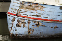 Wear on old wooden hull. Stock Images