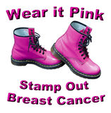 Wear It Pink Stamp Out Breast Cancer. Wear it pink and stamp out breast cancer text with pink boots Royalty Free Stock Photography