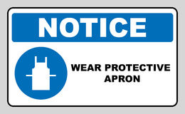 Wear protective gloves, Use protective apron mandatory signs. Use protective apron mandatory sign with text. Information mandatory symbol in blue circle on white stock illustration