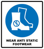 Wear safety footwear. Protective safety boots must be worn, mandatory sign, vector illustration. Stock Image