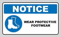 Wear safety footwear. Protective safety boots must be worn, mandatory sign, vector illustration. Stock Images