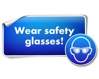 Wear safety glasses sign sticker with mandatory sign isolated on white background royalty free illustration