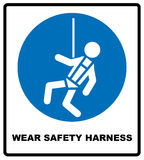 Wear safety harness sign. Information mandatory symbol in blue circle isolated on white. Vector illustration stock illustration
