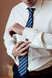 Wear a shirt and cufflinks Royalty Free Stock Images