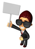 Wear sunglasses 3D Business man Mascot hand is holding a Big adv Royalty Free Stock Photos