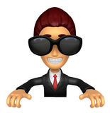 Wear sunglasses 3D Business man Mascot holding a big board with Stock Photos