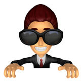 Wear sunglasses 3D Business man Mascot holding a big board with Royalty Free Stock Photos