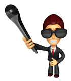 Wear sunglasses 3D Business man Mascot is holding a microphone. Royalty Free Stock Photography