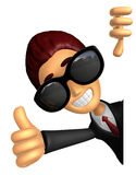 Wear sunglasses 3D Business man Mascot the left hand best gestur Stock Image