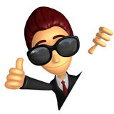 Wear sunglasses 3D Business man Mascot the left hand best gestur Royalty Free Stock Photography