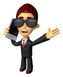 Wear sunglasses 3D Business man Mascot talk over telephone. Work Royalty Free Stock Photos