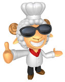 Wear sunglasses 3D Chef Sheep mascot the left hand guides and th Royalty Free Stock Image