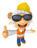 Wear sunglasses 3D Construction site Sheep mascot the left hand Royalty Free Stock Photo