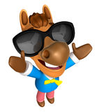 Wear sunglasses 3D Horse mascot the direction of pointing with b Stock Photography
