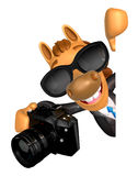 Wear sunglasses 3D Horse mascot hand is holding a Camera and boa Royalty Free Stock Photo
