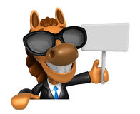 Wear sunglasses 3D Horse mascot hand is holding a picket and boa Royalty Free Stock Photo