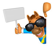 Wear sunglasses 3D Horse mascot hand is holding a picket and boa Stock Images