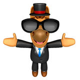 Wear sunglasses 3D Horse mascot has been welcomed with both hand Royalty Free Stock Photo
