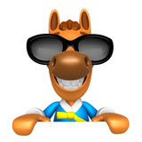 Wear sunglasses 3D Horse Mascot holding a big board with both ha Stock Photos