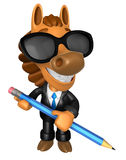 Wear sunglasses 3D Horse Mascot holding a big board with both Pe Stock Images