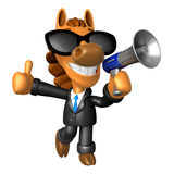 Wear sunglasses 3D Horse Mascot the left hand best gesture and r Stock Photos