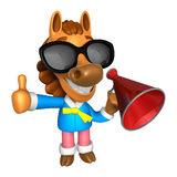 Wear sunglasses 3D Horse Mascot the left hand best gesture and r Royalty Free Stock Image