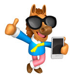 Wear sunglasses 3D Horse Mascot the left hand best gesture and r Royalty Free Stock Photography