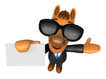Wear sunglasses 3D Horse mascot the left hand guides and the rig Stock Images