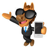 Wear sunglasses 3D Horse mascot the left hand guides and the rig Royalty Free Stock Images