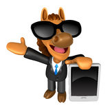 Wear sunglasses 3D Horse mascot the left hand guides and the rig. Ht hand is holding a tablet PC. 3D Animal Character Design Series Royalty Free Stock Photo