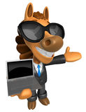 Wear sunglasses 3D Horse Mascot the left hand guides and right h Stock Images