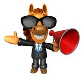 Wear sunglasses 3D Horse Mascot the left hand guides and right h Stock Photo