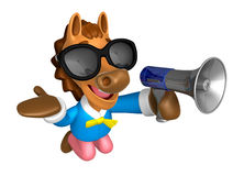 Wear sunglasses 3D Horse Mascot the left hand guides and right h Royalty Free Stock Photo