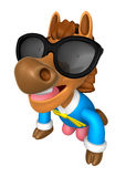 Wear sunglasses 3D Horse Mascot is a polite greeting. 3D Animal Stock Photography