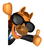 Wear sunglasses 3D Horse Mascot the right hand best gesture and Royalty Free Stock Photos