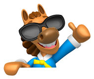 Wear sunglasses 3D Horse Mascot the right hand best gesture and Royalty Free Stock Photography