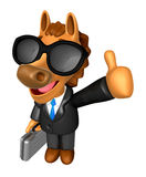 Wear sunglasses 3D Horse Mascot the right hand best gesture and Stock Photography