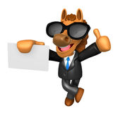 Wear sunglasses 3D Horse Mascot the right hand best gesture and Stock Photos